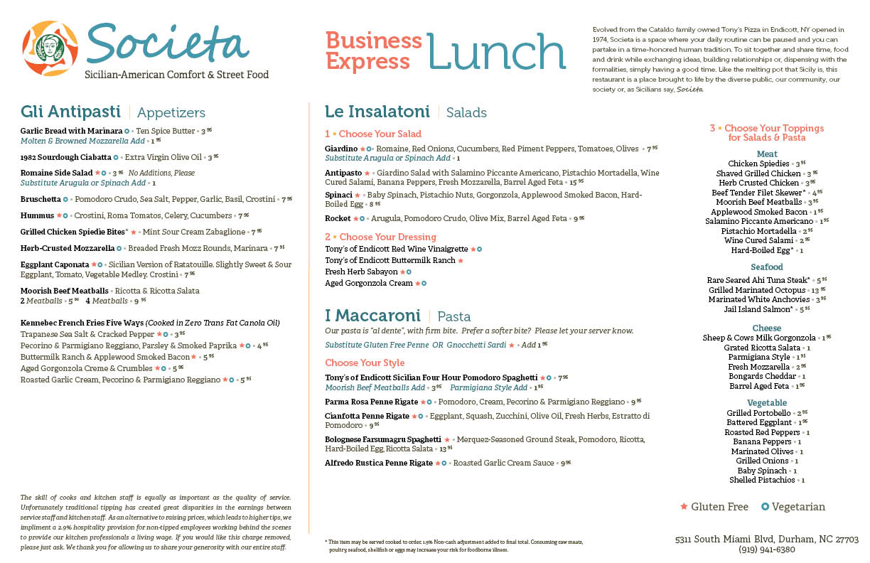 Societa Lunch Specials